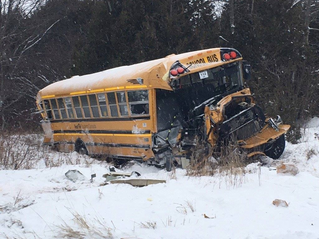 School Bus CP Train Collision - Townline Road